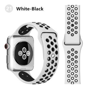 NEW[BAND] White-BK Sport Silicone For Apple Watch